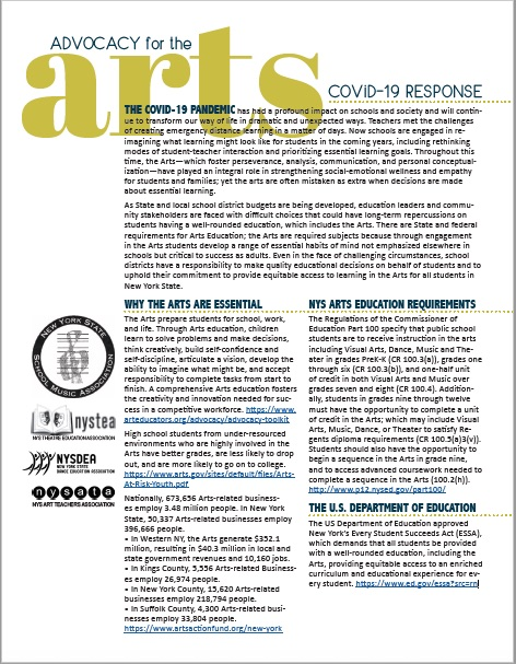 COVID 19 Arts Associations Unified Advocacy Statement Image